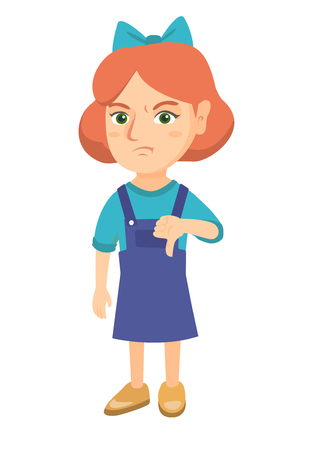 Disappointed caucasian girl with thumb down. Full length of angry girl showing her disagree by thumb down. Vector sketch cartoon illustration isolated on white background.