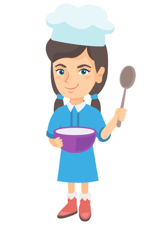 Little caucasian girl wearing chef hat and holding a saucepan and a kitchen spoon. Smiling girl with a saucepan and a spoon. Vector sketch cartoon illustration isolated on white background. Illustration