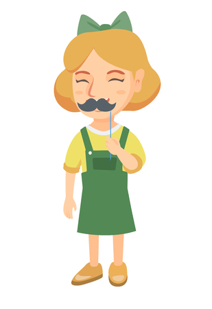 Little caucasian girl holding fake moustache on a stick in front of her face. Girl with a fake mustache. Vector sketch cartoon illustration isolated on white background.