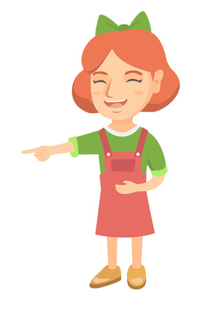 Caucasian girl bullying someone and pointing finger. Little laughing girl mocking and pointing her forefinger at something. Vector sketch cartoon illustration isolated on white background.