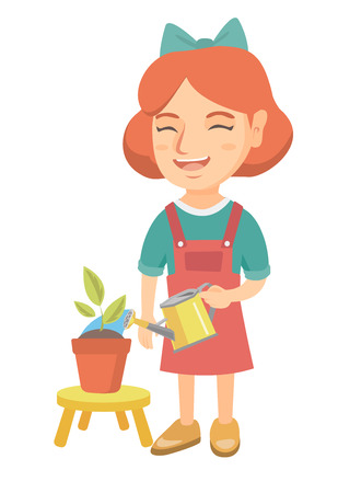 Caucasian girl watering plant with a watering can. Little laughing girl watering a flower growing in a pot. Vector sketch cartoon illustration isolated on white background.