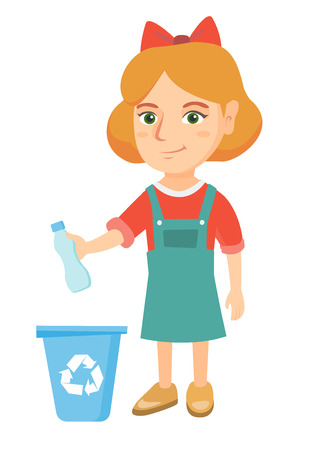 Eco-friendly caucasian girl throwing plastic bottle in recycle bin. Full length of little girl throwing plastic waste in recycling bin. Vector sketch cartoon illustration isolated on white background.