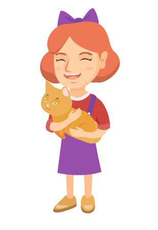 Caucasian happy girl holding a cat. Full length of cheerful little girl with a cat in her hands. Vector sketch cartoon illustration isolated on white background.
