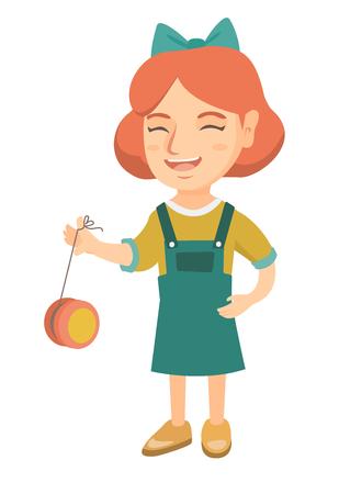 Ragazza caucasica che gioca con lo yo-yo. Integrale della bambina con il giocattolo yo-yo. Illustrazione del fumetto di schizzo vettoriale isolato su priorità bassa bianca.
