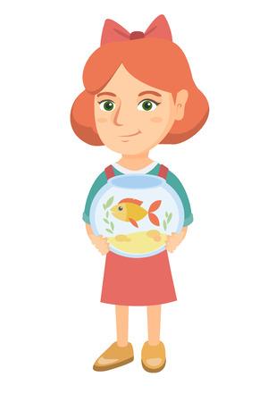 Caucasian girl holding aquarium avec poisson rouge. Toute la longueur de la petite fille souriante tenant un bol avec du poisson pour animaux de compagnie. Illustration de dessin animé de croquis de vecteur isolé sur fond blanc.