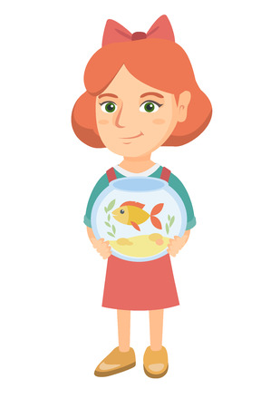 Caucasian girl holding aquarium with goldfish. Full length of smiling little girl holding bowl with pet fish. Vector sketch cartoon illustration isolated on white background. Banque d'images - 102551612