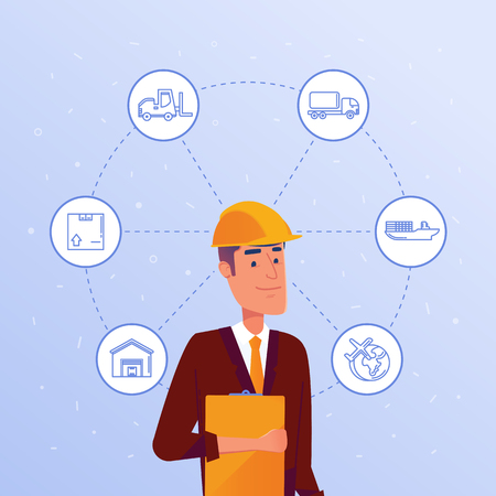 Caucasian warehouse manager choosing logisitics options. Boxing, storaging, sending as concept of modern warehousing and logistics services. Vector illustration on blue background.