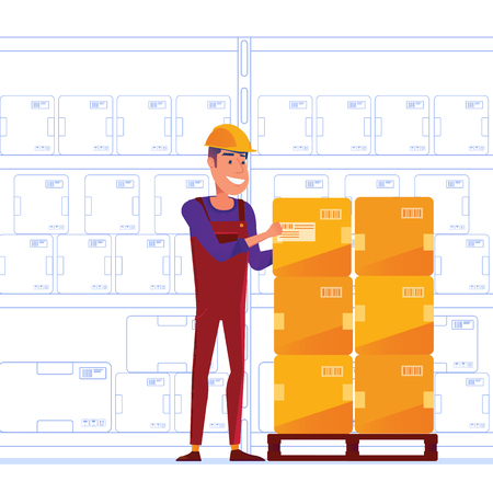 Warehouse worker is storing boxes on the pallet. Happy man near the storage racks as a concept of convenient warehouse and logistics facility. Vector illustration on white background. Illustration