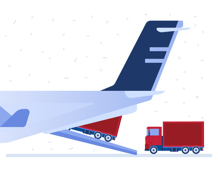 Loaded trucks transportated by airplane. Air delivery, airdrop, freight and air supply, shipping, delivery and logistics concept. Vector illustration on white background.