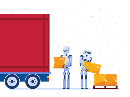 Warehouse robot workers loading truck with cardboard boxes. Robotic workforce as a concept of hi-tech warehouse and logistics technology. Vector flat design illustration on white background.