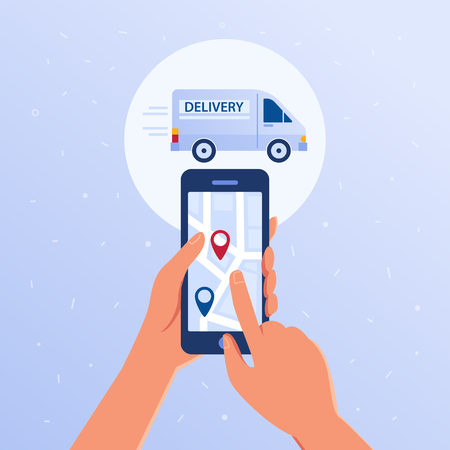 Hands holding smartphone with opened package trace tracker application. Parcel online mobile tracking and tracing concept. Map with navigation pins vector flat design illustration on blue background. Vettoriali
