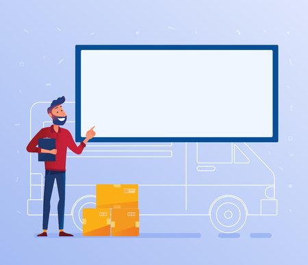 Delivery man with cardboard boxes near the van under big solid banner. Local delivery service and shipping banner concept. Door to door courier service vector illustration on the background. Ilustrace