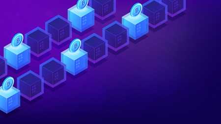Isometric bitcoin mining computers. Bitcoin miner hardware and software concept. Cryptocurrency mining farm. Blockchain network on ultra violet background. Vector 3d isometric illustration. Illustration