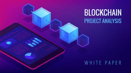 Isometric blockchain project analysis and white paper landing page concept. Blockchain fintech, global cryptocurrency economy illustration on ultra violet background. Vector 3d isometric illustration. Çizim