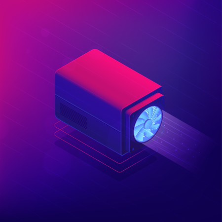 Isometric cryptocurrency miner concept. Bitcoin miner hardware, software and dedicated computer network on ultra violet background. Vector 3d isometric illustration.