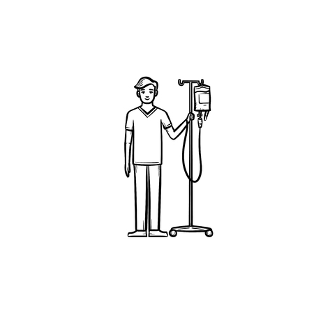 Patient with drop counter hand drawn outline doodle icon. Male patient standing with drop counter in arm. Inpatient treatment concept. Vector sketch illustration on white background Stock Vector - 102758238