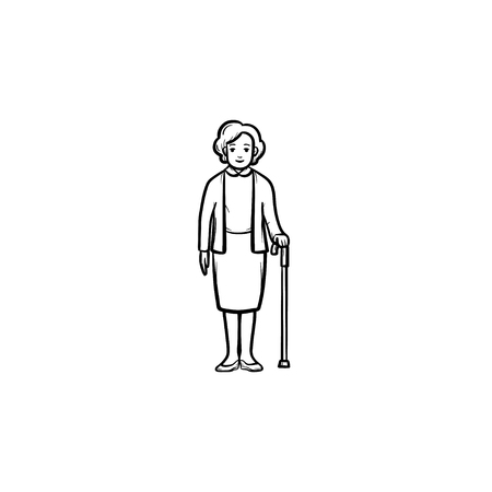 Pensioner woman with cane hand drawn outline doodle icon. Weak female with walking stick in old age vector sketch illustration for print, web, mobile and infographics on white background.
