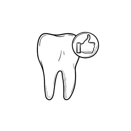 Tooth health and stomatology hand drawn outline doodle icon. Dentist, hygiene and dental health medical concept. Vector sketch illustration for print, web, mobile and infographics on white background.