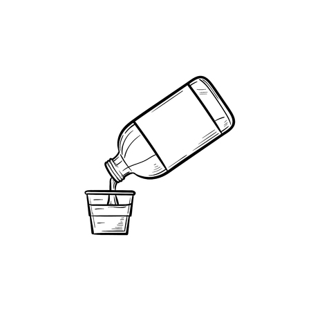 Enjuague bucal con icono de doodle de contorno dibujado de mano de taza medidora. Enjuague bucal de higiene, concepto médico de salud dental. Ilustración de dibujo vectorial para impresión, web, móvil e infografía sobre fondo blanco.