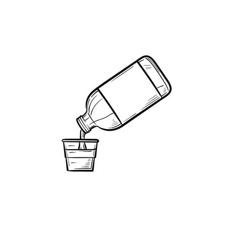 Mundspülung mit gezeichnetem Umriss-Gekritzel-Symbol der Messbecherhand. Hygiene Mundwasser, Zahngesundheit medizinisches Konzept. Vektorskizzenillustration für Druck, Web, Handy und Infografiken auf weißem Hintergrund.