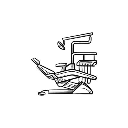 Esquema dibujado a mano de silla dental doodle icono. Odontología, estomatología, chequeo dental y concepto de tratamiento. Ilustración de dibujo vectorial para impresión, web, móvil e infografía sobre fondo blanco. Ilustración de vector