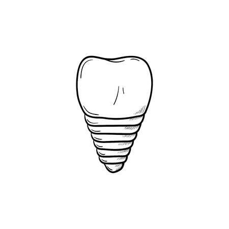 Dental implant hand drawn outline doodle icon. Dentistry, stomatology and dental care concept. Vector sketch illustration for print, web, mobile and infographics on white background.