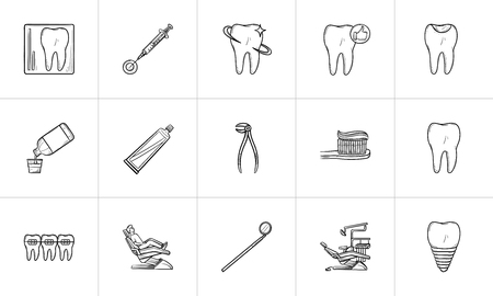 Dentistry hand drawn outline doodle icon set for print, web, mobile and infographics. Stomatology, dental care and treatment vector sketch illustration set isolated on white background. Ilustracja