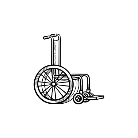 Wheelchair hand drawn outline doodle icon. Disability or barrier-free environment concept vector sketch illustration for print, web, mobile and infographics isolated on white background. Stock Illustratie