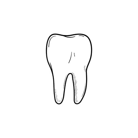 Healthy tooth hand drawn outline doodle icon. Dentistry, stomatology and dental care concept. Vector sketch illustration for print, web, mobile and infographics on white background.