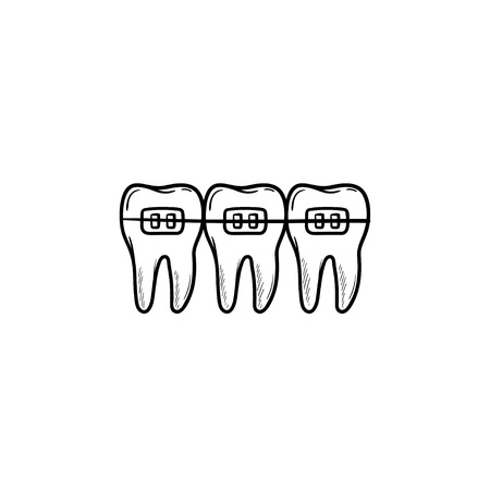 Dental braces hand drawn outline doodle icon. Dentistry, stomatology and orthodontist concept. Vector sketch illustration for print, web, mobile and infographics on white background.