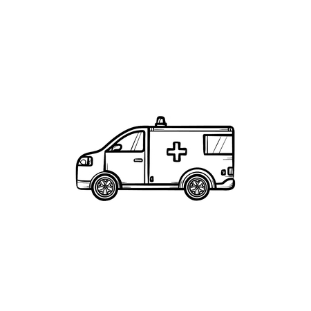 Resuscitation car hand drawn outline doodle icon. Siren ambulance vehicle, paramedics brigade in a car with urgent patient. Emergency medical service concept. Vector sketch illustration on white background. Illustration
