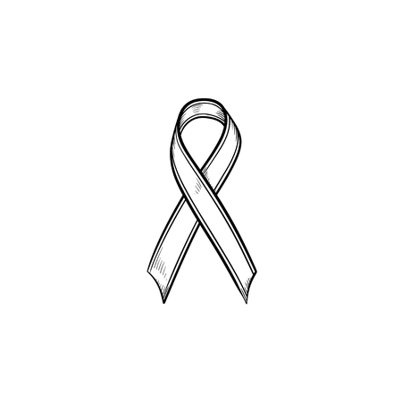 Awareness ribbon hand drawn outline doodle icon. Breast cancer AIDS ribbon. Mourning concept. Vector sketch illustration for print, web, mobile and infographics isolated on white background. Illustration