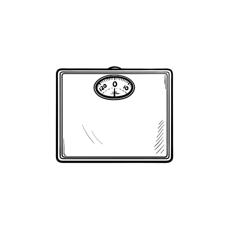 Scales hand drawn outline doodle icon. Balance measure control as concept of slimming and weight loss vector sketch illustration for print, web, mobile and infographics isolated on white background.