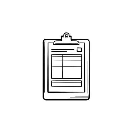 Medical record and health tests hand drawn outline doodle icon. Prescription report clipboard file as medical document concept vector sketch illustration on white background.
