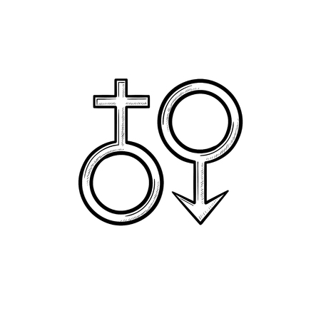 Female male genger symbols hand drawn outline doodle icon. Men and women sex concept vector sketch illustration for print, web, mobile and infographics isolated on white background.