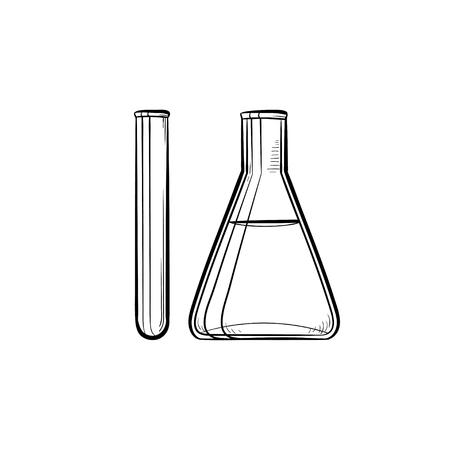 Test tubes hand drawn outline doodle icon. Laboratory equipment as a concept of research, chemistry and experiment. Vector sketch illustration for print, web, mobile on white background. Illustration