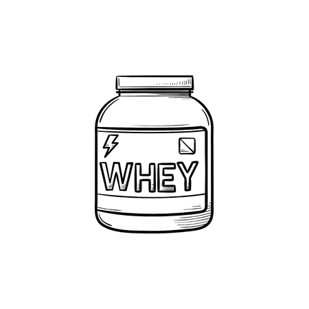 Sport nutrition hand drawn outline doodle icon. Container with whey protein powder as body bulding and healthy food concept. Vector sketch illustration for print, web, mobile and infographics on white