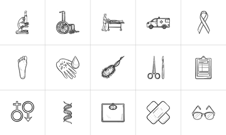 Medicine hand drawn outline doodle icon set for print, web, mobile and infographics. Health, medicine, surgery, ophthalmology and ambulance vector sketch illustration set isolated on white background. Illustration