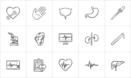 Medicine hand drawn outline doodle icon set for print, web, mobile and infographics. Healthcare, hospital, paramedic and first aid vector sketch illustration set isolated on white background. Illustration