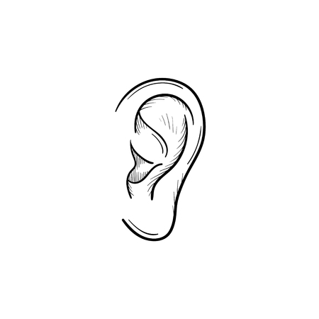 Human ear hand drawn outline doodle icon. Human ear as a concept of listening and hearing vector sketch illustration for print, web, mobile and infographics isolated on white background.