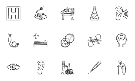 Medicine hand drawn outline doodle icon set for print, web, mobile and infographics. Healthcare, hospital, rehabilitation vector sketch illustration set isolated on white background.