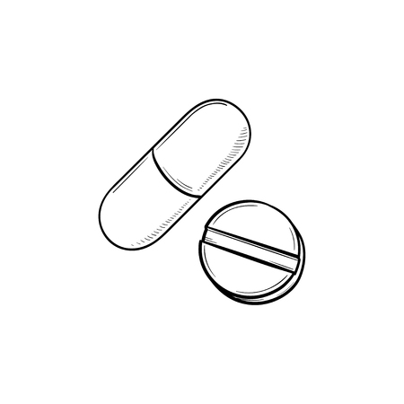 Pills hand drawn outline doodle icon. Tablet and capsule as cure, medicine, drug and pharmacy concept. Vector sketch illustration for print, web, mobile and infographics on white background. Stock Vector - 102758512