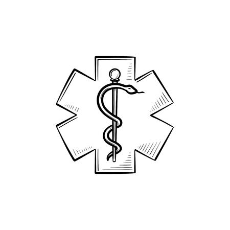 The Star of Life hand drawn outline doodle icon. Staff of Asclepius as a sign of the emergency, ambulance and pharmacy. Vector sketch illustration for print, web, mobile and infographics on white. Illustration