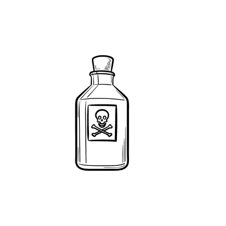Poison hand drawn outline doodle icon. Hazardous poison bottle poisonous chemical toxin with crossbones label. Vector sketch illustration for print, web, mobile and infographics on white background.