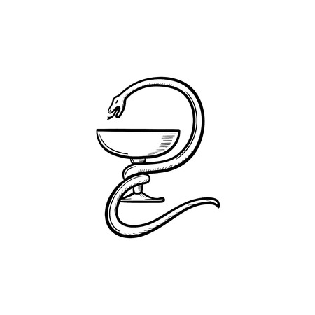 Pharmacy symbol hand drawn outline doodle icon. Cobra round the glass on pharmaceutical cup vector sketch illustration for print, web, mobile and infographics on white background.