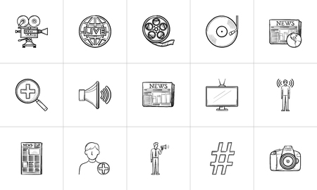 Media hand drawn outline doodle icon set for print, web, mobile and infographics. Digital media devices, social media, TV, news and cinema vector sketch illustration set isolated on white background.