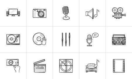 Media hand drawn outline doodle icon set for print, web, mobile and infographics. Digital media devices, audio, movie and radio vector sketch illustration set isolated on white background.