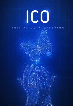 ICO initial coin offering on futuristic hud background with glowing polygon butterfly, hands, blockchain peer to peer network and title ICO. Global cryptocurrency business concept. Low poly design. Stock Photo