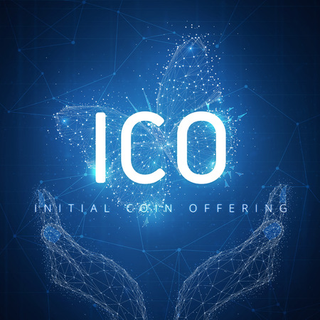 ICO initial coin offering on futuristic hud background with glowing polygon butterfly, hands and blockchain peer to peer network. Global cryptocurrency business and finance concept. Low poly design.