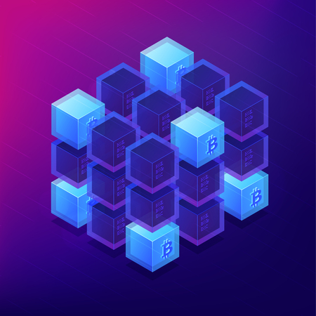 Isometric blockchain technology concept. Computer network, global cryptocurrency mining and blockchain data transfer illustration on ultra violet background. Vector 3d isometric illustration.